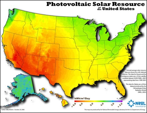 NREL's map of PV potential in the US.