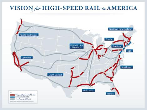 Map of Proposed High-Speed Rail Routes in the US.